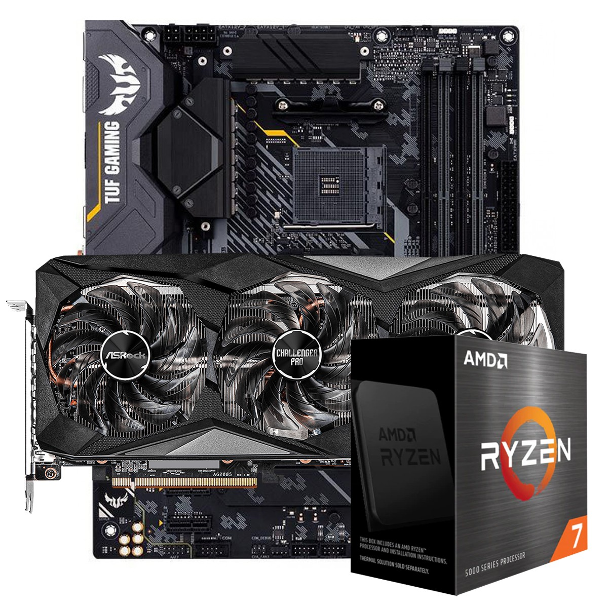 Kit Upgrade ASRock Radeon RX 6700 XT Challenger Pro OC + AMD Ryzen 7 5800X + ASUS TUF Gaming X570-Plus