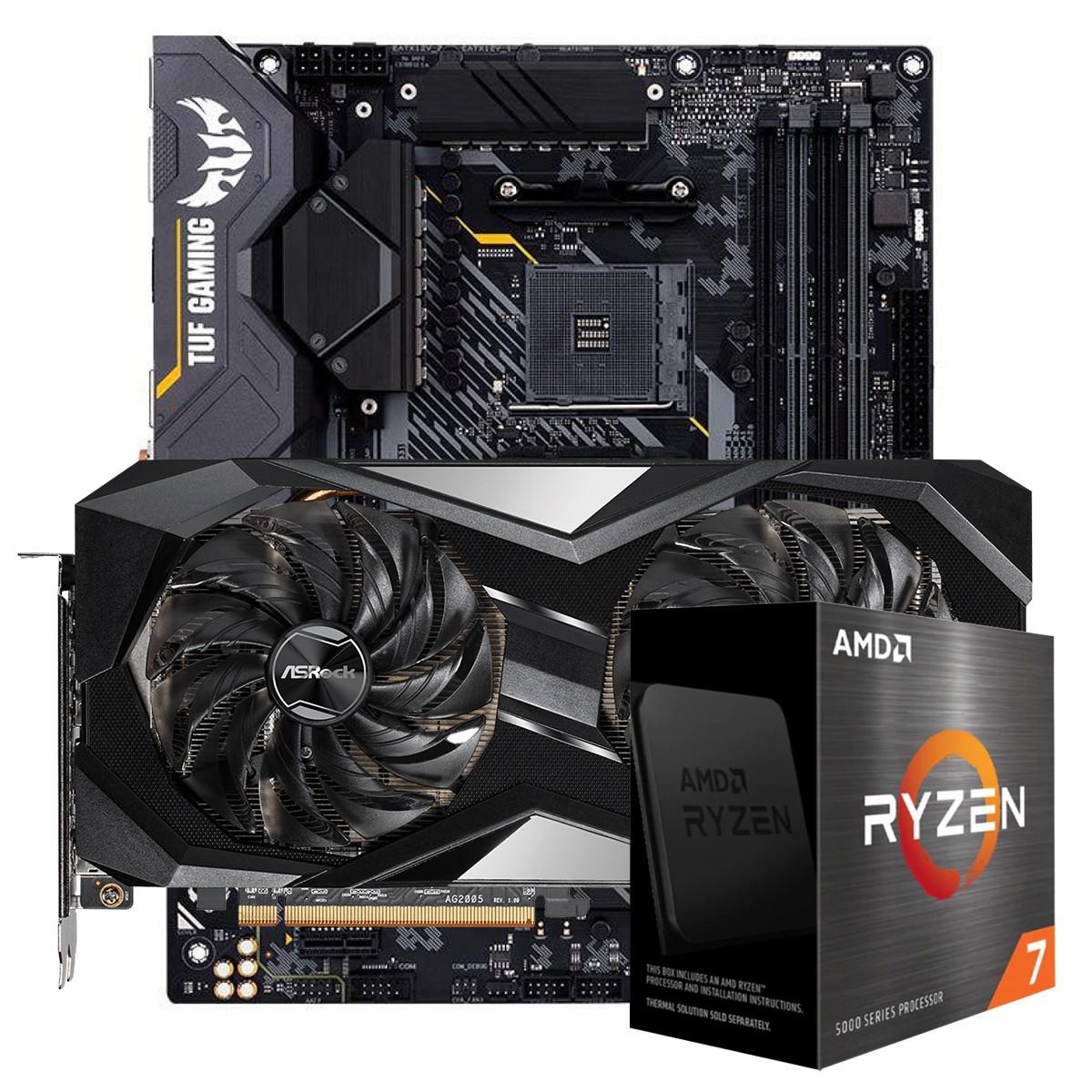 Kit Upgrade ASRock Radeon RX 6700 XT Challenger + AMD Ryzen 7 5800X + ASUS TUF Gaming X570-Plus