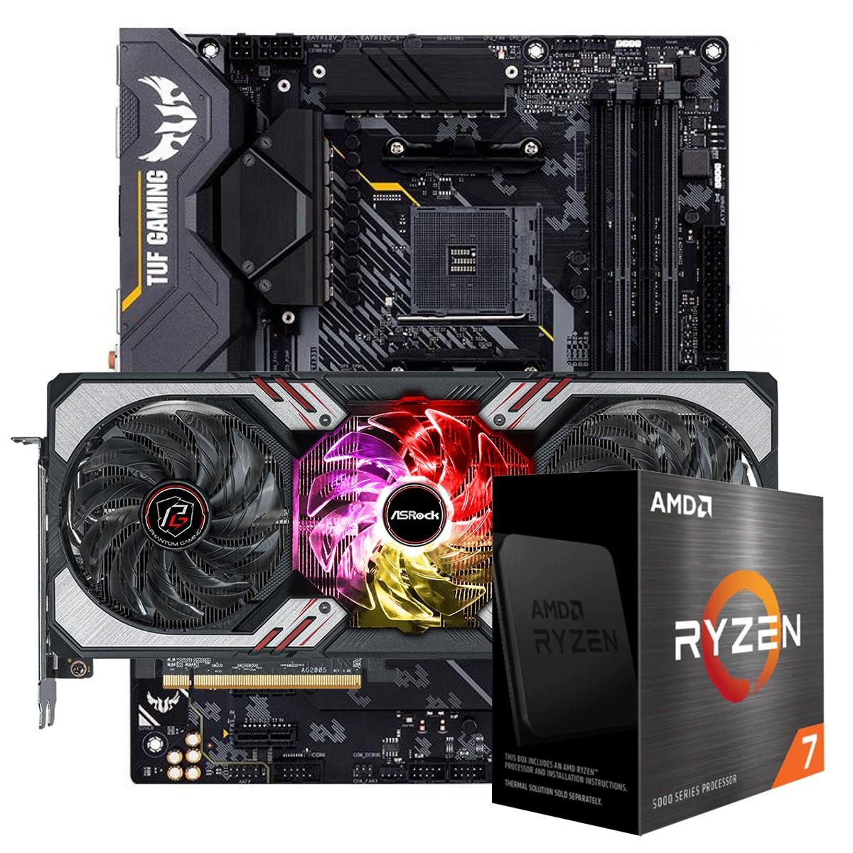Kit Upgrade ASRock Radeon RX 6700 XT Phantom Gaming D OC + AMD Ryzen 7 5800X + ASUS TUF Gaming X570-Plus
