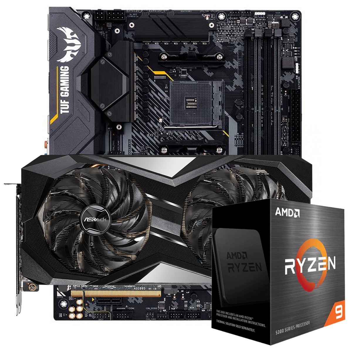 Kit Upgrade ASRock Radeon RX 6700 XT Challenger + AMD Ryzen 9 5900X + ASUS TUF Gaming X570-Plus