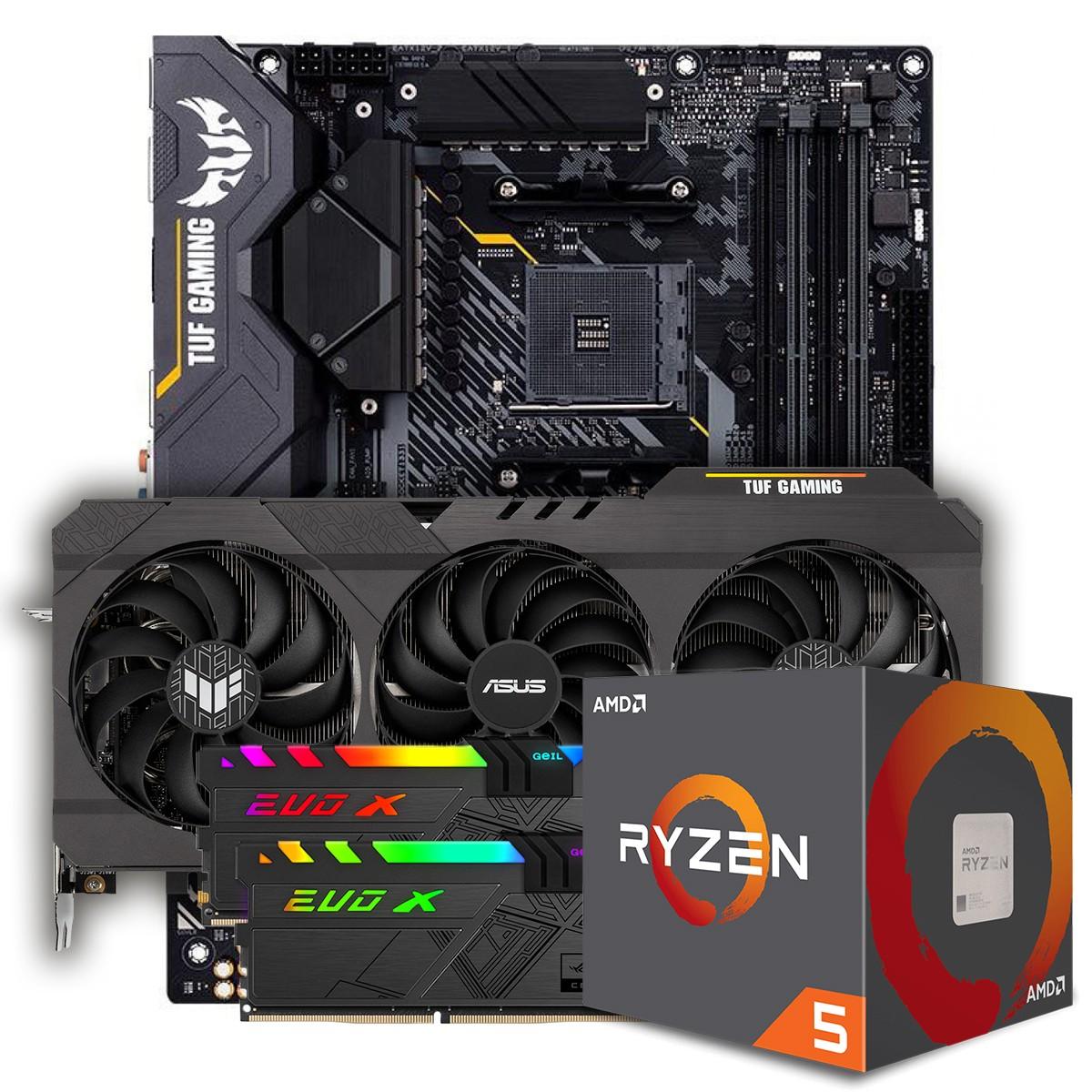 Kit Upgrade ASUS TUF Gaming Radeon RX 6700 XT OC + AMD Ryzen 5 5600X + ASUS TUF Gaming X570-Plus + Memória DDR4 16GB (2x8GB) 3600MHz