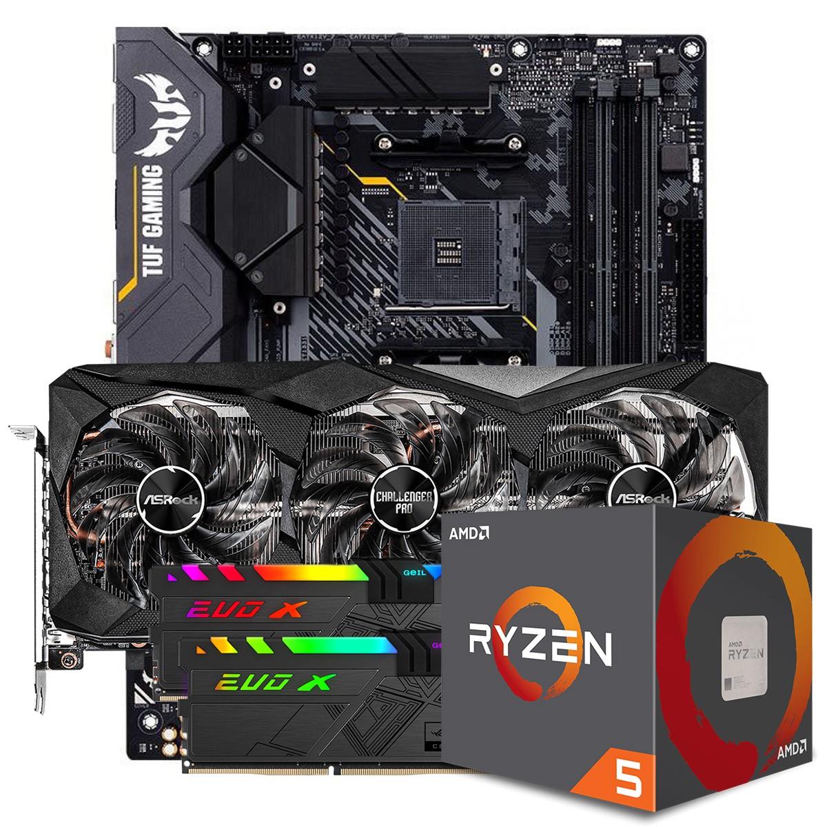 Kit Upgrade ASRock Radeon RX 6700 XT Challenger Pro OC + AMD Ryzen 5 5600X + ASUS TUF Gaming X570-Plus + Memória DDR4 16GB (2x8GB) 3600MHz