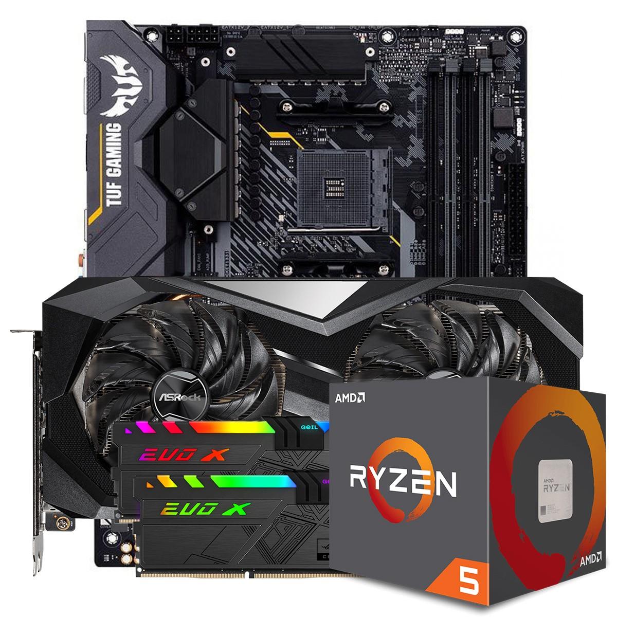 Kit Upgrade ASRock Radeon RX 6700 XT Challenger + AMD Ryzen 5 5600X + ASUS TUF Gaming X570-Plus + Memória DDR4 16GB (2x8GB) 3600MHz