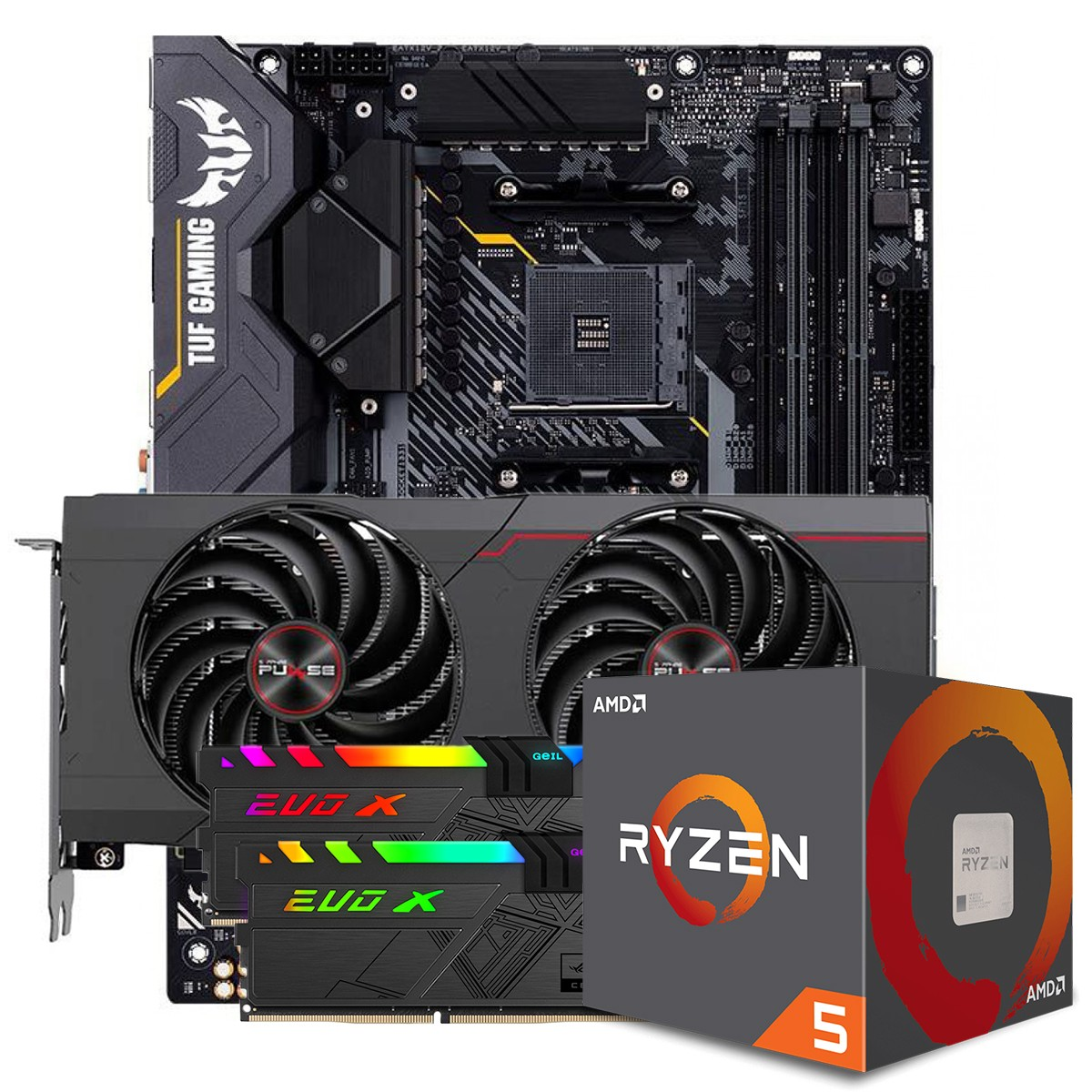 Kit Upgrade Sapphire Pulse Radeon RX 6700 XT + AMD Ryzen 5 5600X + ASUS TUF Gaming X570-Plus + Memória DDR4 16GB (2x8GB) 3600MHz