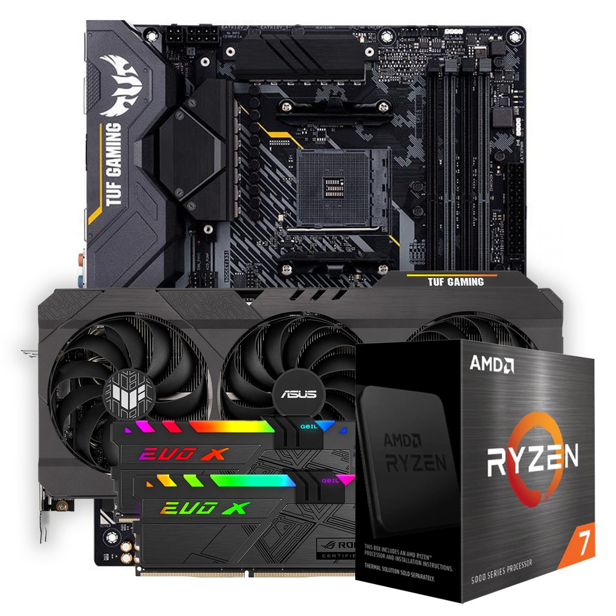 Kit Upgrade ASUS TUF Gaming Radeon RX 6700 XT OC + AMD Ryzen 7 5800X + ASUS TUF Gaming X570-Plus + Memória DDR4 16GB (2x8GB) 3600MHz