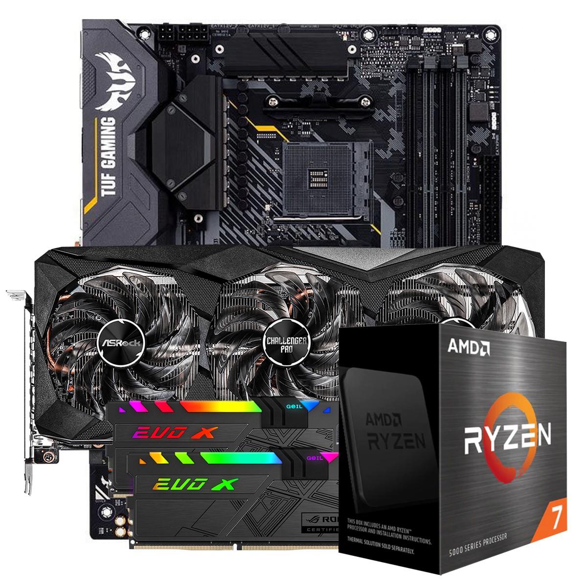 Kit Upgrade ASRock Radeon RX 6700 XT Challenger Pro OC + AMD Ryzen 7 5800X + ASUS TUF Gaming X570-Plus + Memória DDR4 16GB (2x8GB) 3600MHz