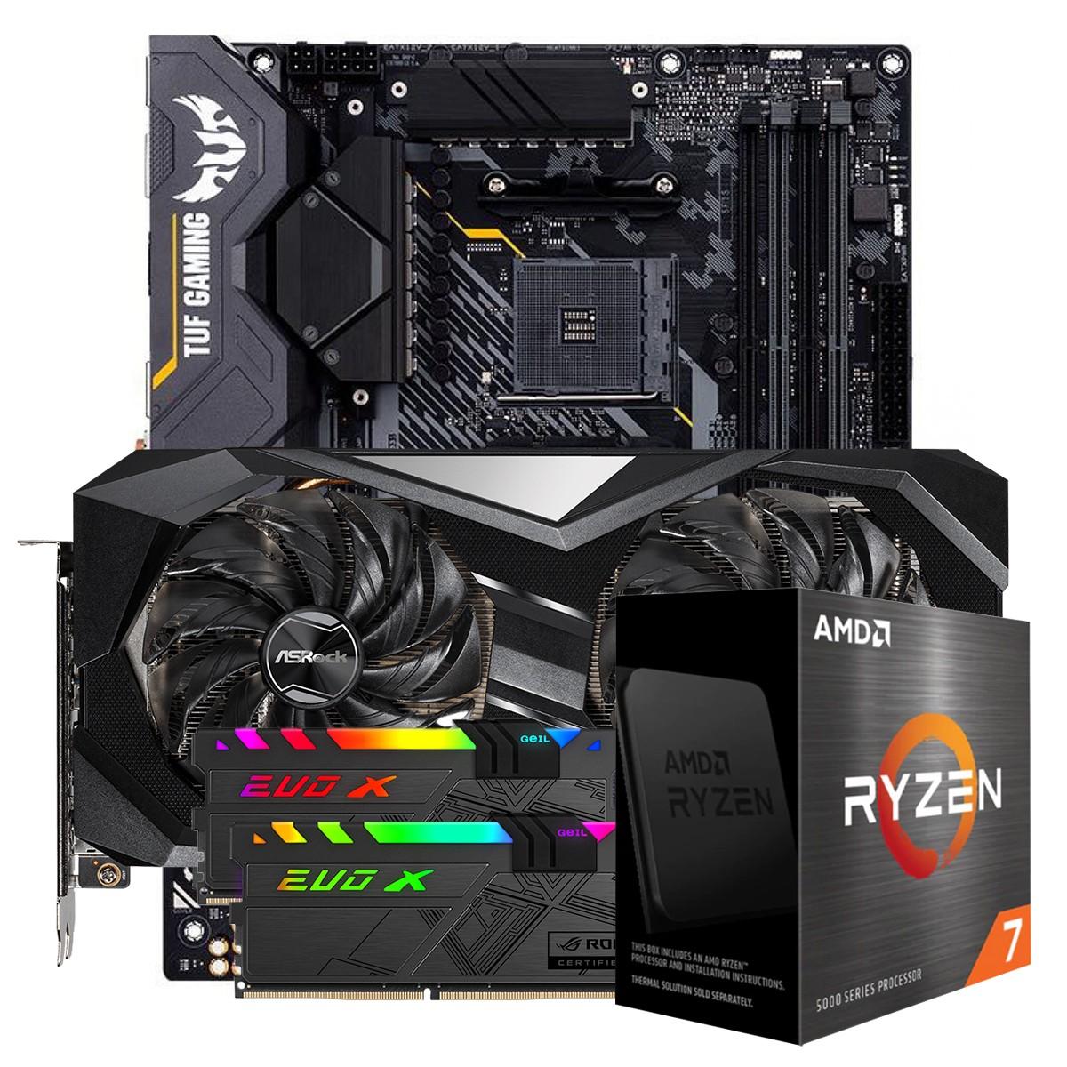 Kit Upgrade ASRock Radeon RX 6700 XT Challenger + AMD Ryzen 7 5800X + ASUS TUF Gaming X570-Plus + Memória DDR4 16GB (2x8GB)