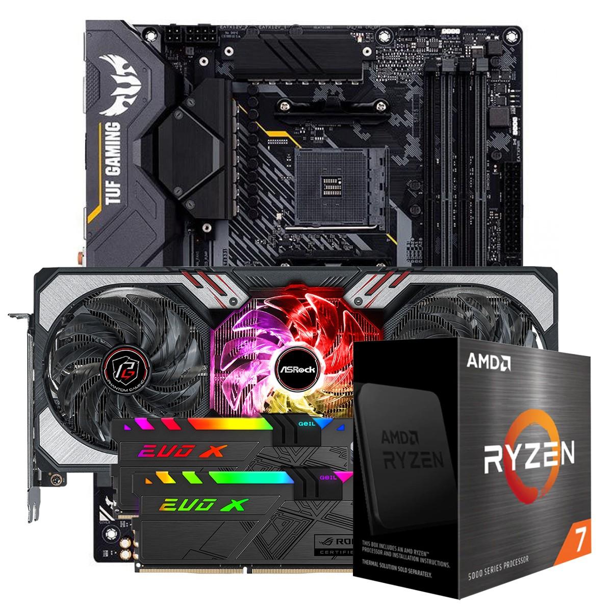 Kit Upgrade ASRock Radeon RX 6700 XT Phantom Gaming D OC + AMD Ryzen 7 5800X + ASUS TUF Gaming X570-Plus + Memória DDR4 16GB (2x8GB) 3600MHz