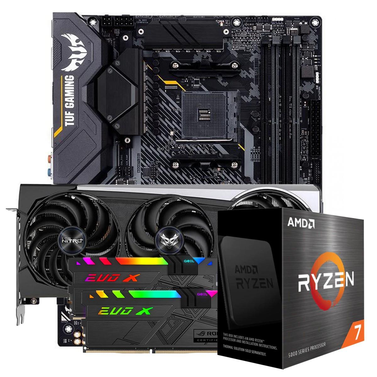 Kit Upgrade Sapphire Radeon RX 6700 XT + AMD Ryzen 7 5800X + ASUS TUF Gaming X570-Plus + Memória DDR4 16GB (2x8GB) 3600MHz