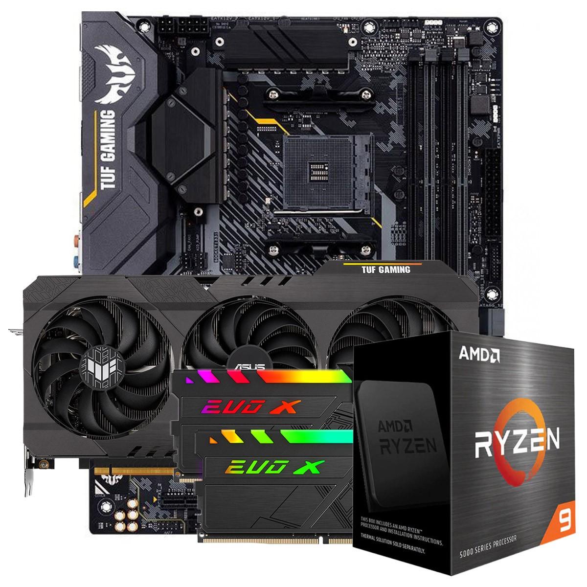 Kit Upgrade ASUS TUF Gaming Radeon RX 6700 XT OC + AMD Ryzen 9 5900X + ASUS TUF Gaming X570-Plus + Memória DDR4 16GB (2x8GB) 3600MHz