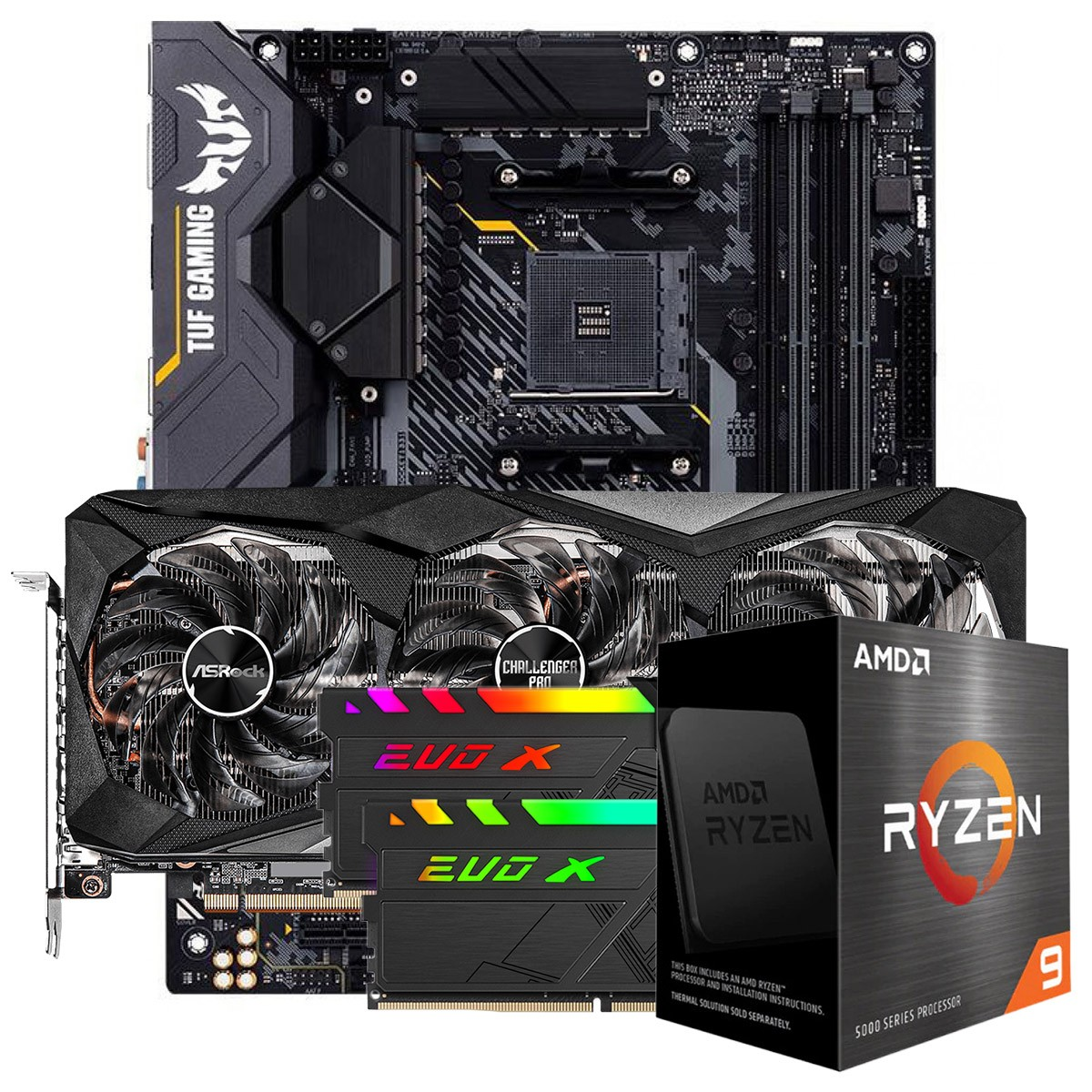 Kit Upgrade ASRock Radeon RX 6700 XT Challenger Pro OC + AMD Ryzen 9 5900X + ASUS TUF Gaming X570-Plus + Memória DDR4 16GB (2x8GB) 3600MHz