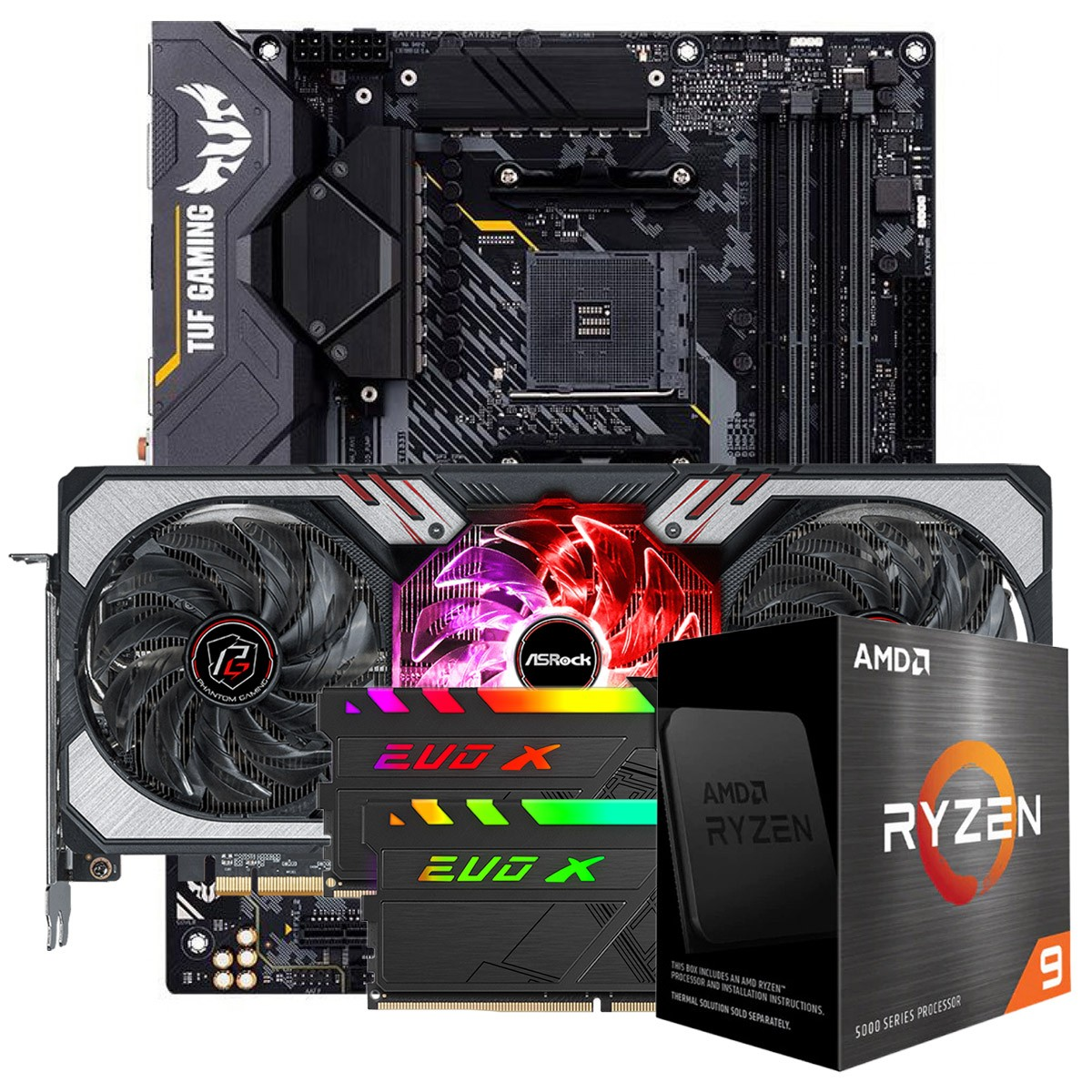 Kit Upgrade ASRock Radeon RX 6700 XT Phantom Gaming D OC + AMD Ryzen 9 5900X + ASUS TUF Gaming X570-Plus + Memória DDR4 16GB (2x8GB) 3600MHz