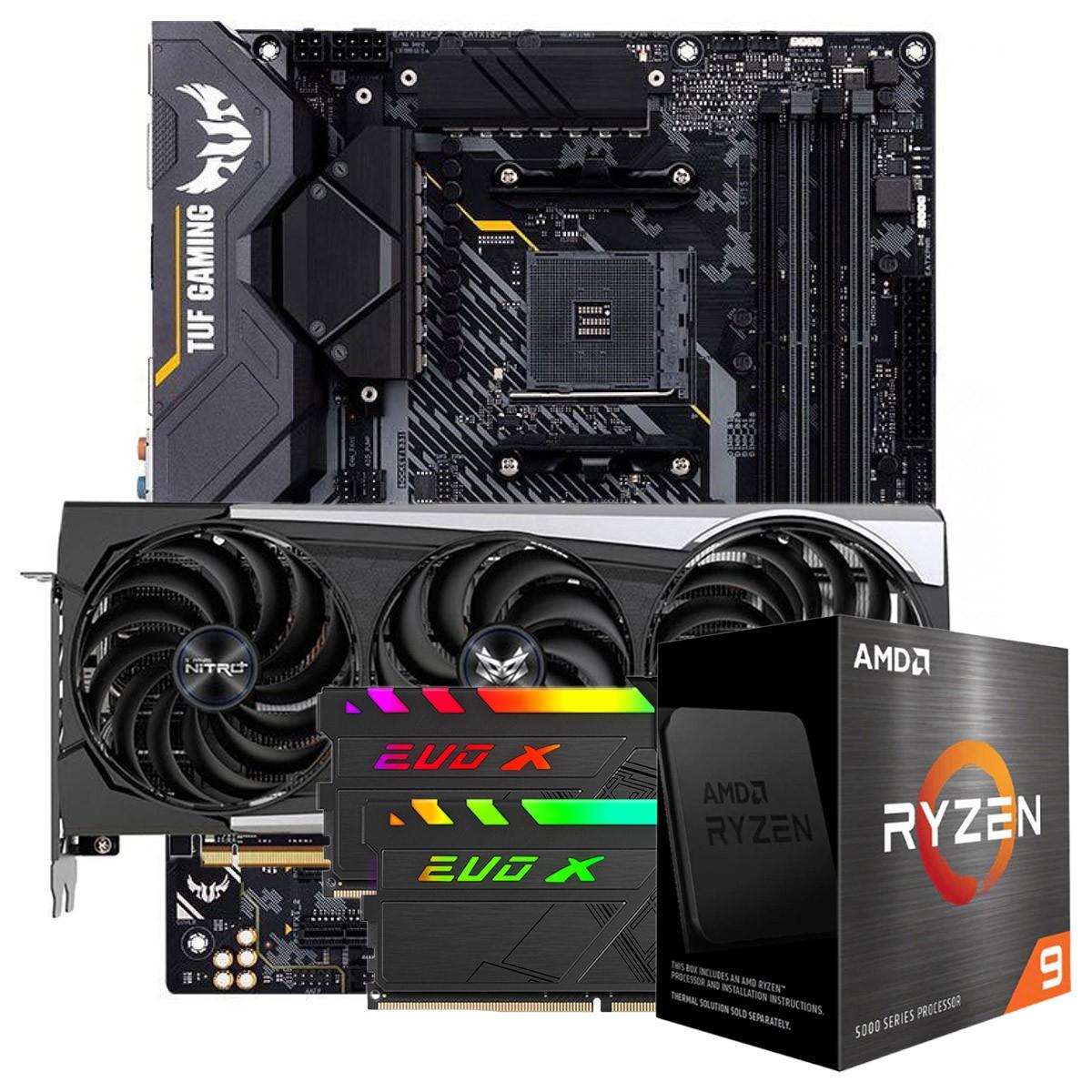 Kit Upgrade Sapphire Radeon RX 6700 XT + AMD Ryzen 9 5900X + ASUS TUF Gaming X570-Plus + Memória DDR4 16GB (2x8GB) 3600MHz