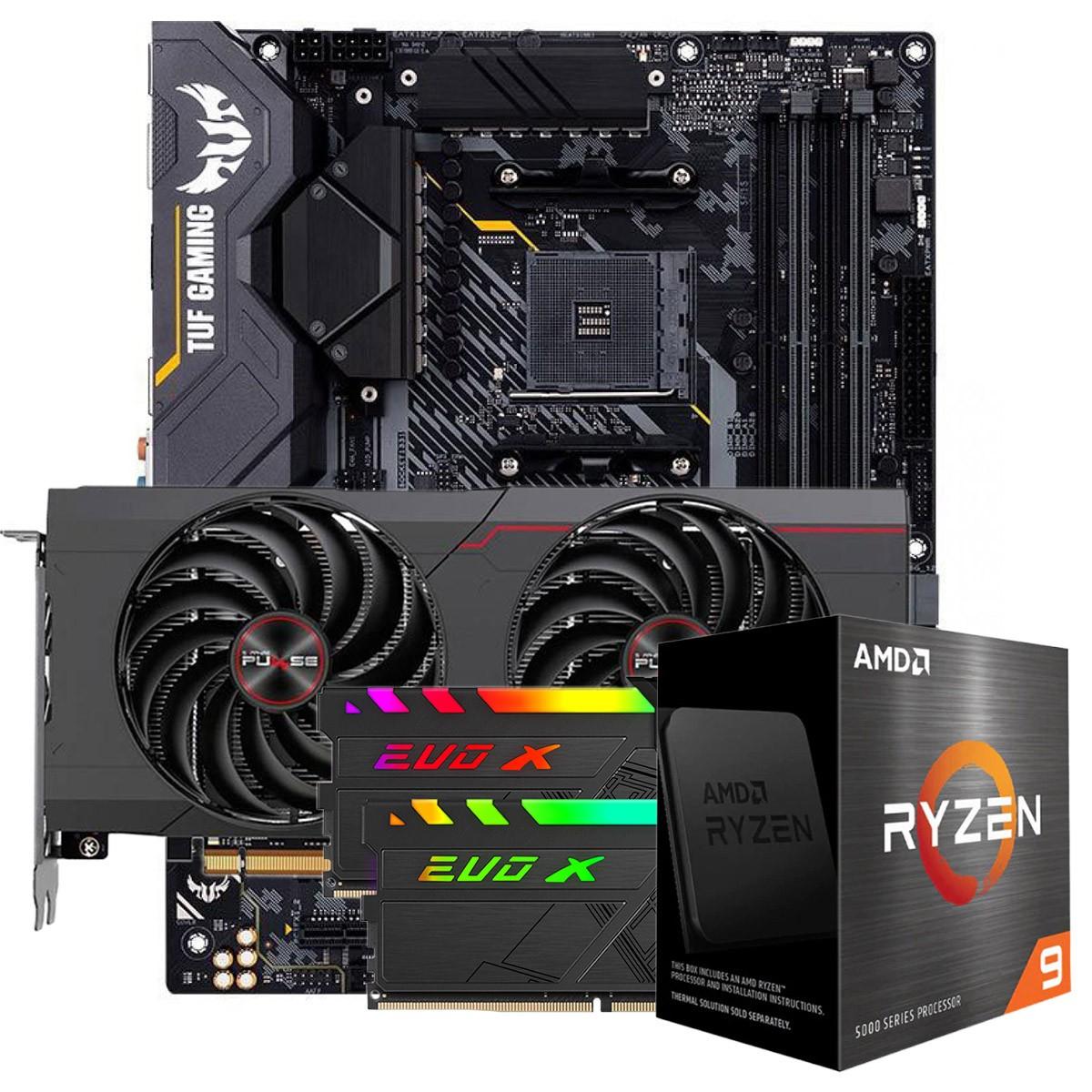 Kit Upgrade Sapphire Pulse Radeon RX 6700 XT + AMD Ryzen 9 5900X + ASUS TUF Gaming X570-Plus + Memória DDR4 16GB (2x8GB) 3600MHz