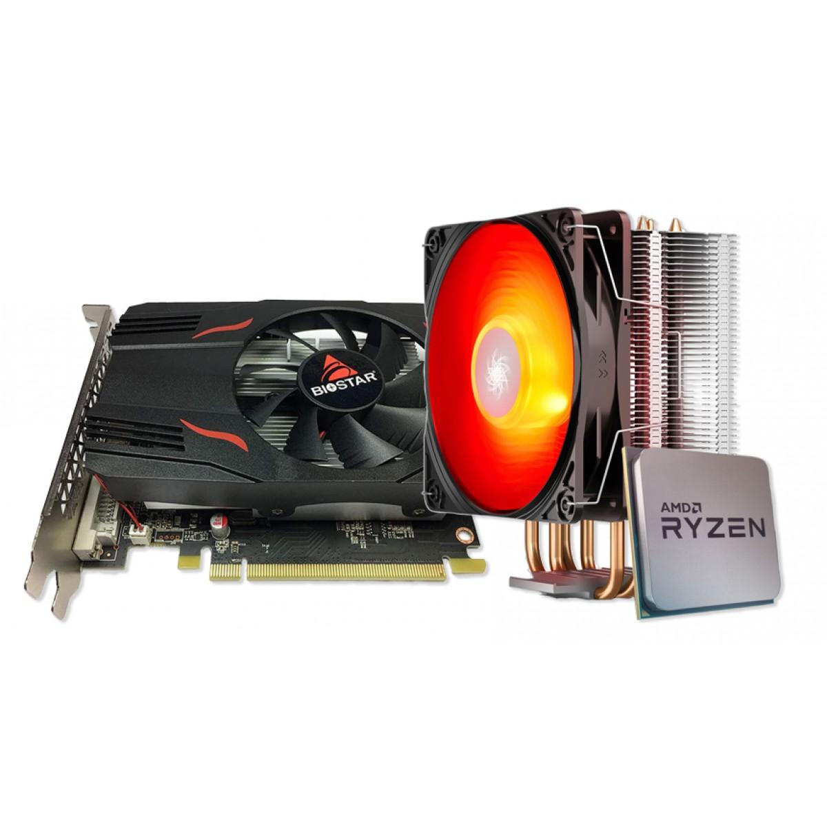 Kit Upgrade Biostar Radeon RX 550 2GB + Ryzen 3 3300X + Brinde Cooler