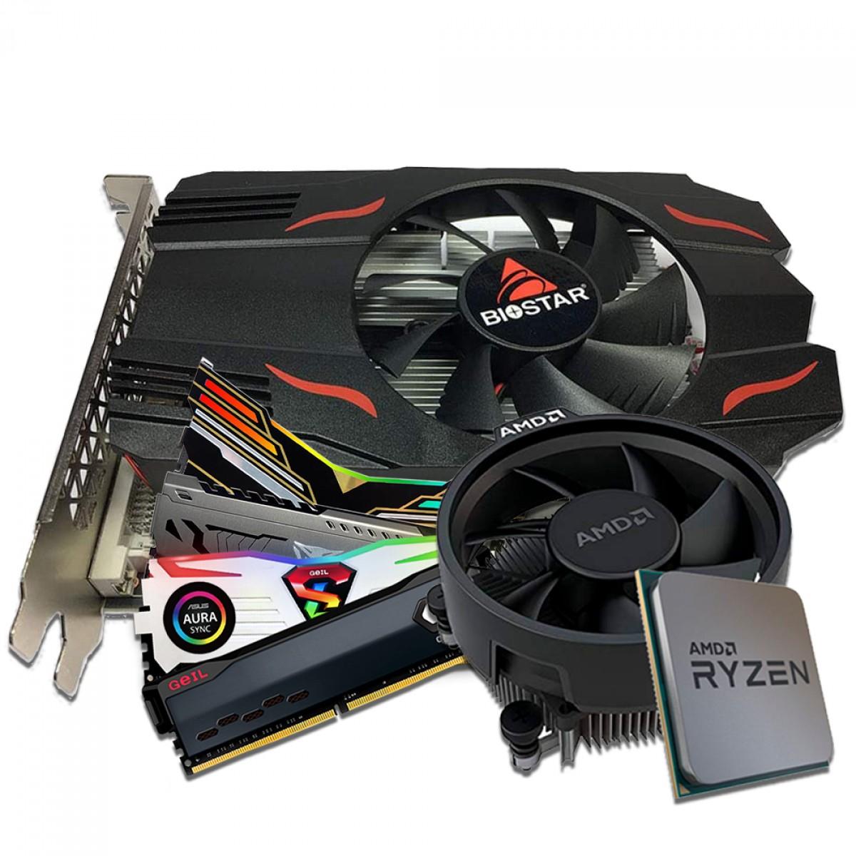 Kit Upgrade Biostar Radeon RX 550 4GB + AMD Ryzen 5 3500 + Memória DDR4 16GB (2x8GB) 3000Mhz