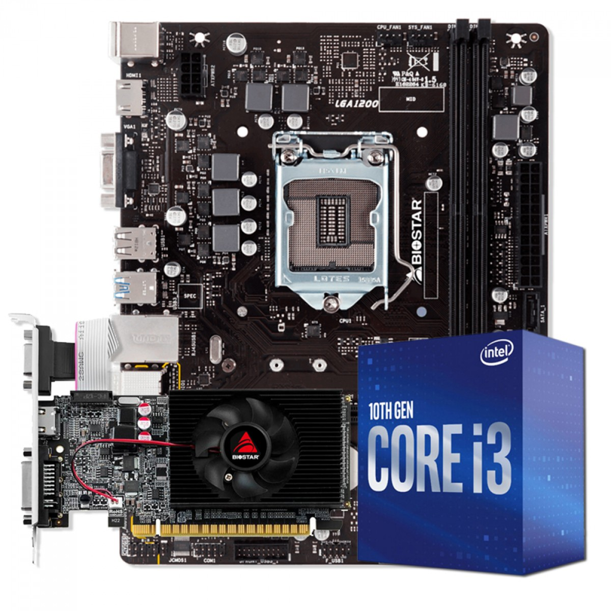 Kit Upgrade Biostar NVIDIA GeForce GT 610 + Intel Core i3 10105F + Biostar H410MH VER 6.0