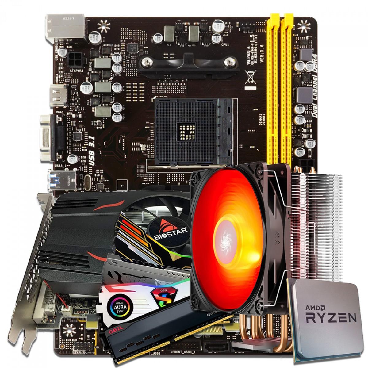 Kit Upgrade Biostar Radeon Rx 550 4GB + Ryzen 3 3300x + Biostar A320MH + Memória DDR4 16GB (2x8GB) 3000MHz + Cooler de Brinde