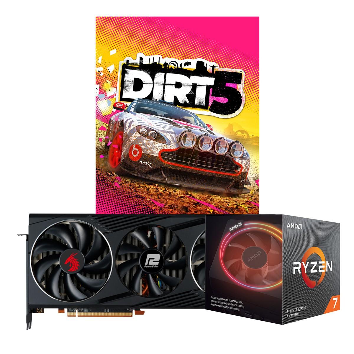 Kit Upgrade PowerColor Radeon RX 6800 Red Dragon + AMD Ryzen 7 3700X + Brinde Jogo Dirt 5
