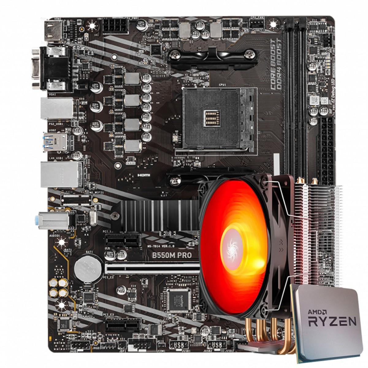 Kit Upgrade MSI B550M PRO + AMD Ryzen 5 5600X 4.6GHz + Deepcool Gammaxx 400 V2 Red
