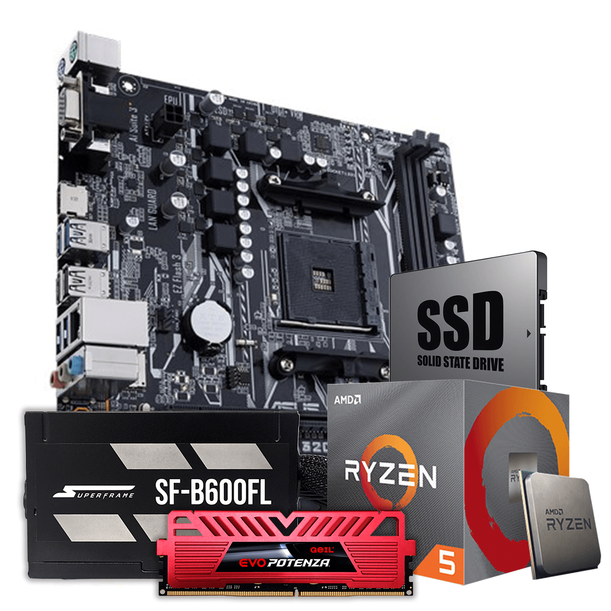 Kit Upgrade Package, AMD 3600, Asus A320, DDR4, 8GB 3000MHZ, SSD 240GB, 600W