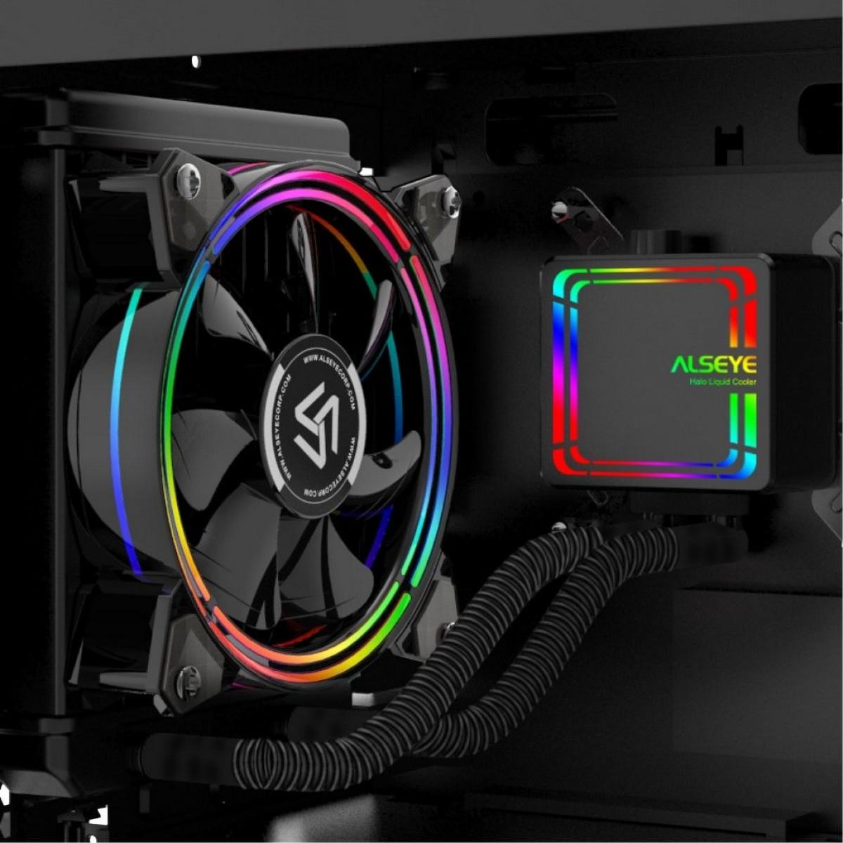 Water Cooler Alseye H120 Black, 120mm, RGB, Intel-AMD