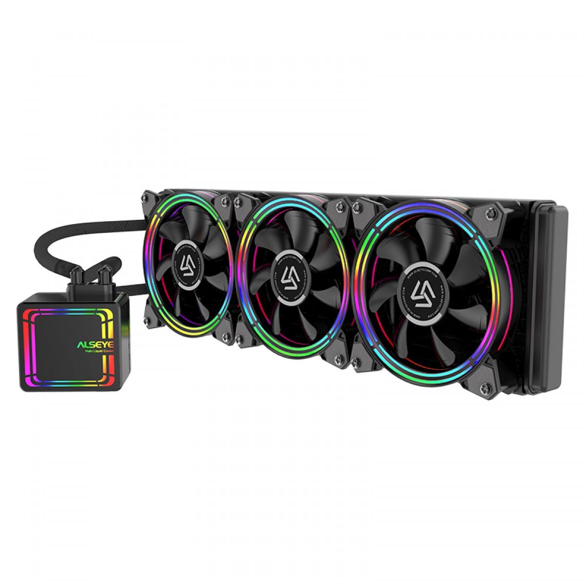 Water Cooler Alseye H360 Black, 360mm, RGB, Intel-AMD