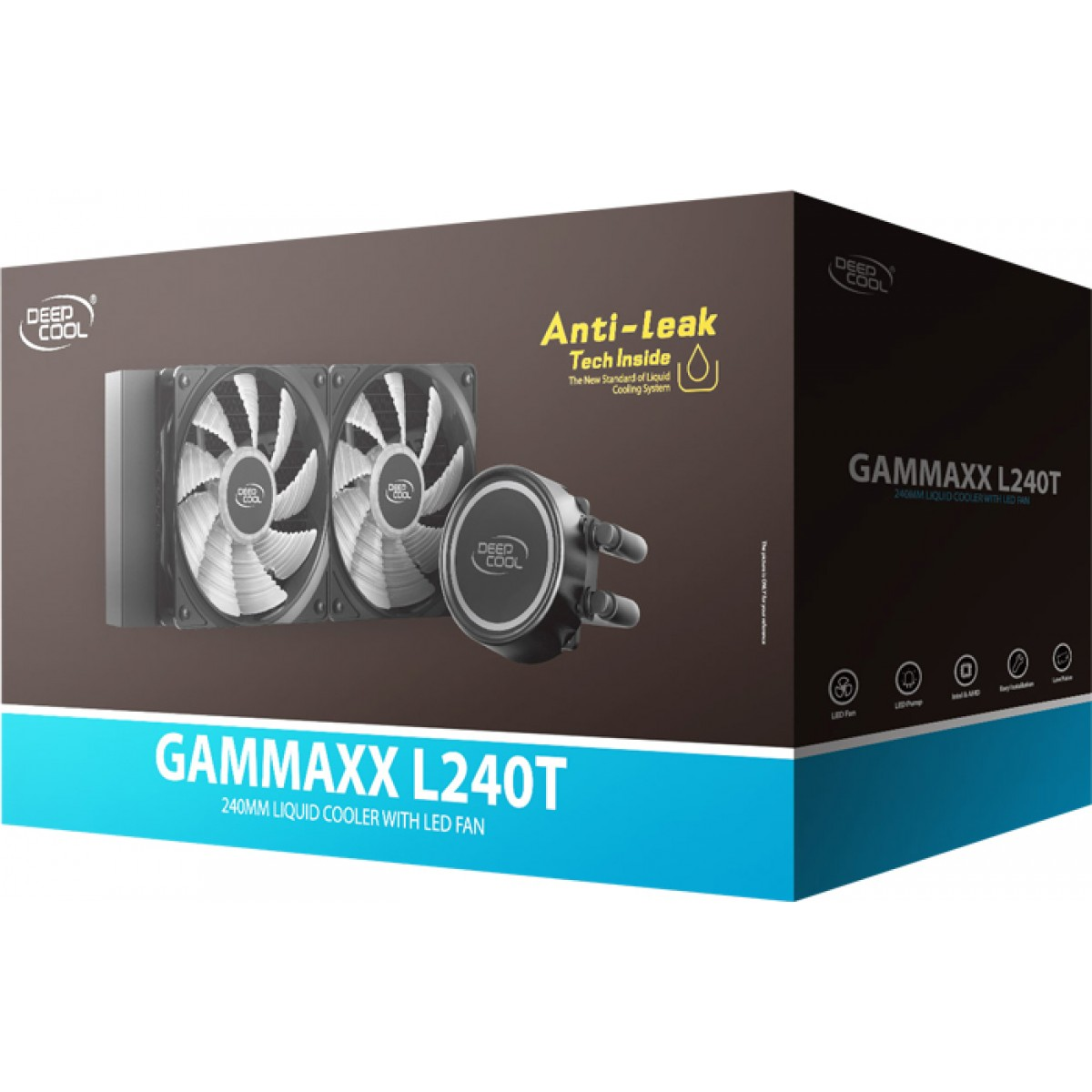 Water Cooler DeepCool Gammaxx L240T, LED Red 240mm, Intel-AMD, DP-H12RF-GL240TR