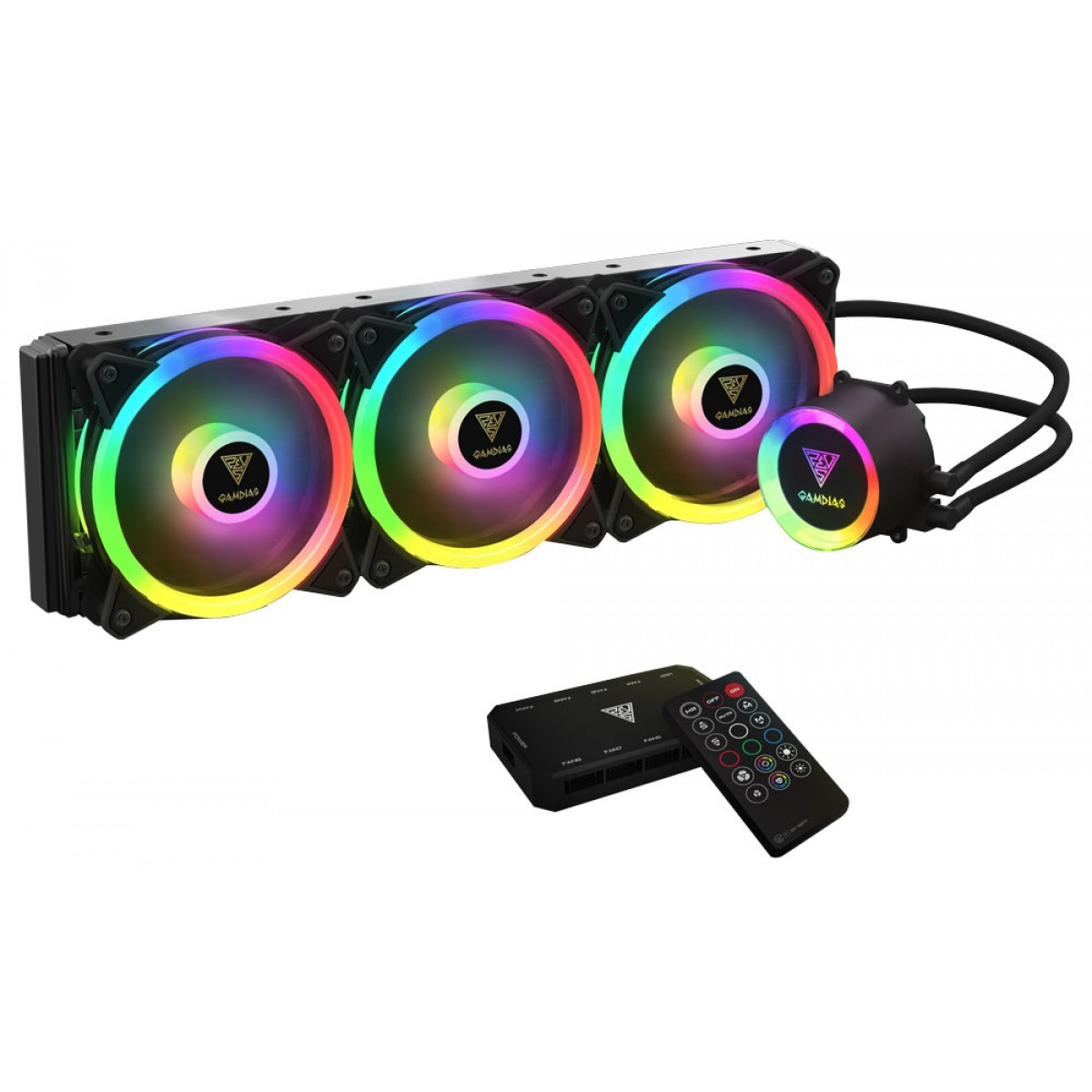 Water Cooler Gamdias Chione P2-360R, RGB, Controlador, 360mm, Intel-AMD