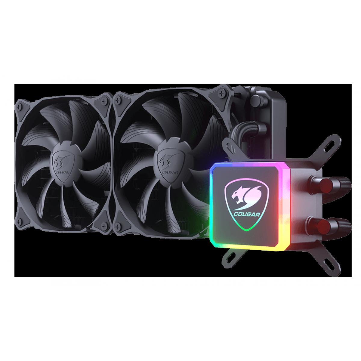 Water Cooler Gamer Cougar Aqua 240, RGB 240mm, Intel-AMD, 3MAQU240-0001