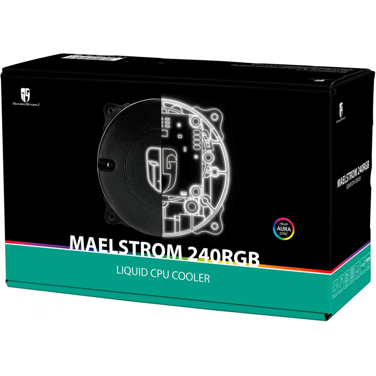 Water Cooler Gamer Storm DeepCool Maelstrom, RGB 240mm, Intel-AMD, DP-GS-H12RL-MS240RGB