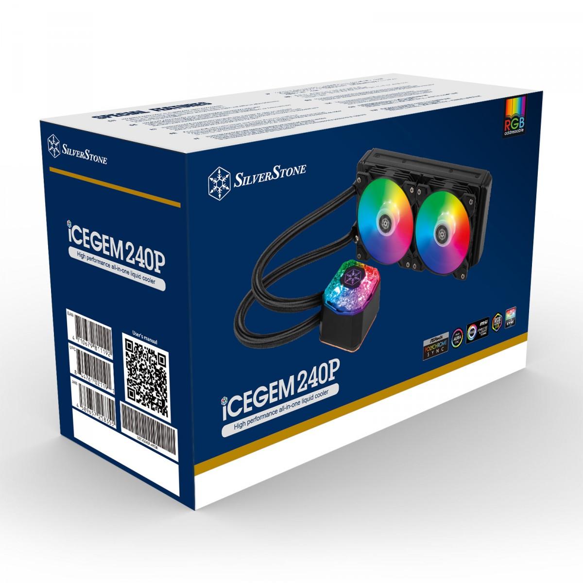 Water Cooler SilverStone IceGem 240P, 240mm, Intel-AMD, SST-IG240P-ARGB