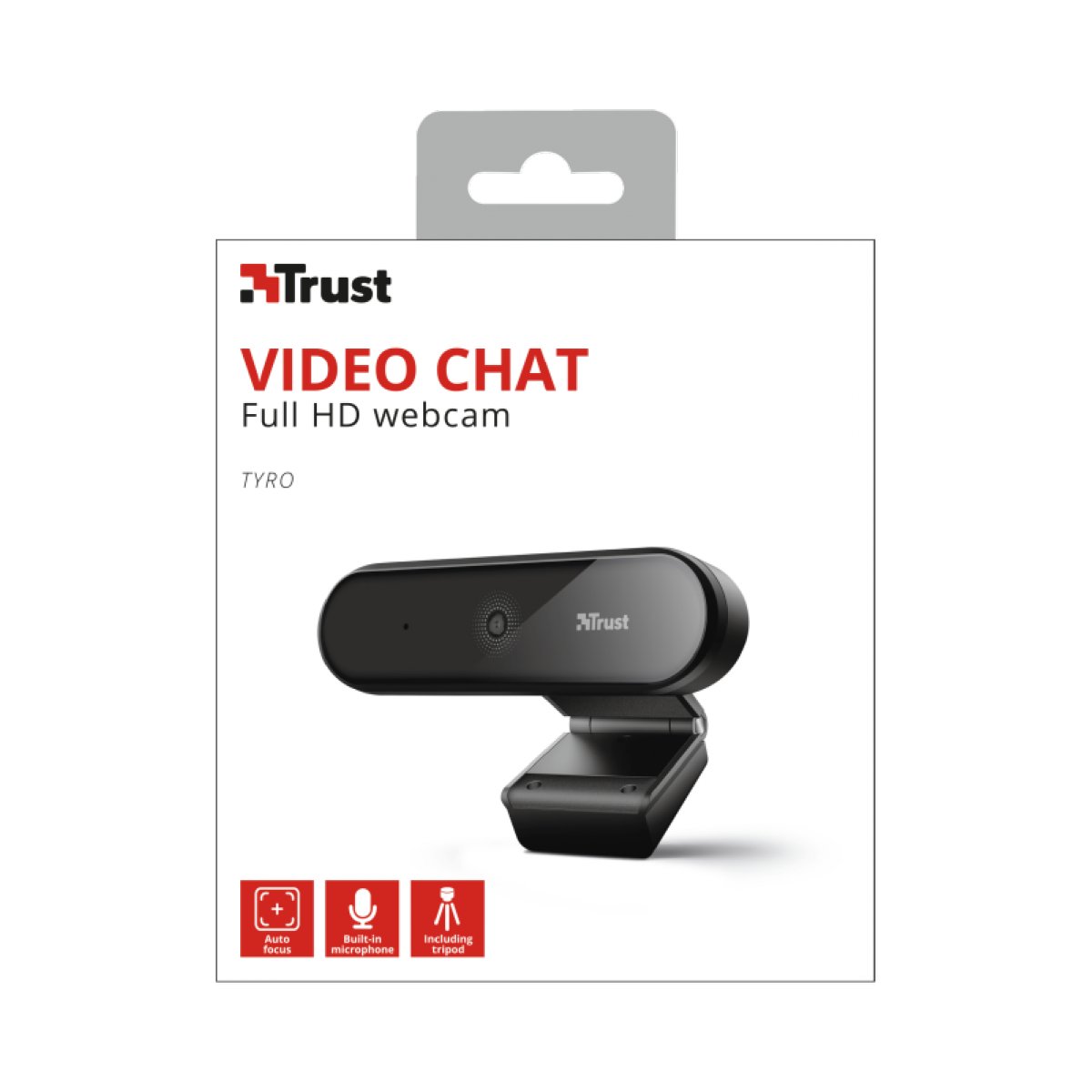 Webcam Trust, Tyro, Full HD, 1080p, Tripé, T23637