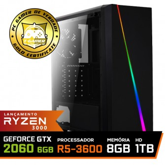 Pc Gamer Super T-Commander Lvl-8 AMD Ryzen 5 3600 / GeForce RTX 2060 6GB / DDR4 8GB / HD 1TB / 600W / RZ3