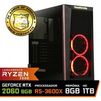 Pc Gamer Super T-General Lvl-5 AMD Ryzen 5 3600X / GeForce RTX 2060 6GB / DDR4 8GB / HD 1TB / 600W / RZ3