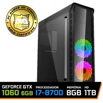 Pc Gamer T-Captain LVL-1 Intel i7 8700 / GeForce GTX 1060 6GB / DDR4 8GB / HD 1TB / 500W