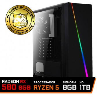 Pc Gamer T-Commander LVL-6 AMD Ryzen 5 2600 / RADEON RX 580 8GB / DDR4 8GB / HD 1TB / 500W