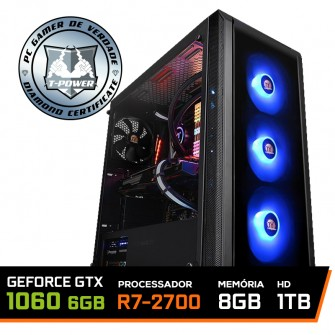Pc Gamer T-Power Colonel Lvl-1 AMD Ryzen 7 2700 / Geforce GTX 1060 6GB / DDR4 8GB / HD 1TB / 600W