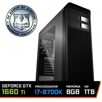 PC Gamer T-Power Super Edition Intel I7 8700K / Geforce GTX 1660 Ti 6GB / DDR4 8GB / HD 1TB / 600W