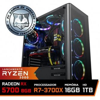 Pc Gamer T-Power Super Warlord Lvl-7 AMD Ryzen 7 3700X / Radeon NAVI RX 5700 8GB / DDR4 16GB / HD 1TB / 600W / RZ3