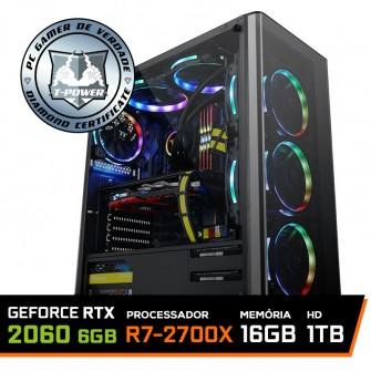 Pc Gamer T-Power Warlord Lvl-1 Amd Ryzen 7 2700X / Geforce RTX 2060 6GB / DDR4 16GB / HD 1TB / 600W