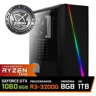 Pc Gamer T-Moba Super Dominator LVL-5 AMD Ryzen 3 3200G / GeForce GTX 1060 6GB / DDR4 8GB / HD 1TB / 500W / RZ3