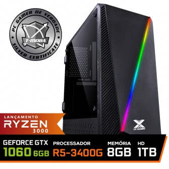 Pc Gamer T-Moba Super Ultimate LVL-6 AMD Ryzen 5 3400G / GeForce GTX 1060 6GB / DDR4 8GB / HD 1TB / 500W / RZ3