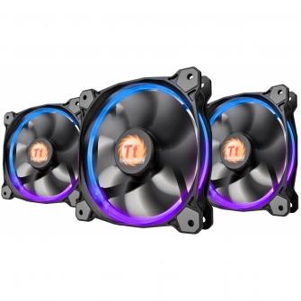 Kit Fan com 3 Unidades Thermaltake Riing 12, RGB 120mm, CL-F042-PL12SW-B