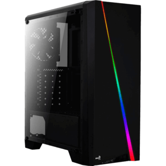 Gabinete Gamer Aerocool Cylon RGB, Black, Mid Tower, Com 1 Fan