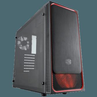 Gabinete Gamer Cooler Master MASTERBOX E500L, Mid Tower, Com 2 Fans, Black, S-Fonte, MCB-E500L-KA5N-S01-RED