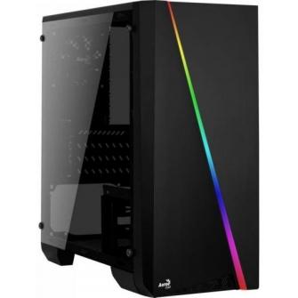 Gabinete Gamer Aerocool Mini Cylon RGB Black Mini Tower Com 1 Fan Lateral em Acrílico Black S-Fonte