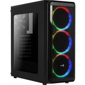 Gabinete Gamer Aerocool SI-5200 RGB Mid Tower Com 1 Fan Lateral em Acrílico Black S-Fonte