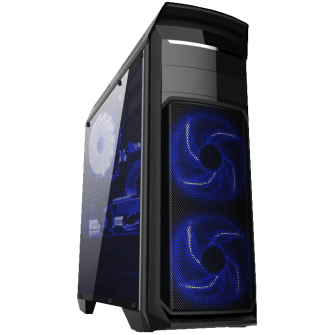 Gabinete Gamer Bluecase BG-110, Mid Tower, S-Fan, Lateral em Acrílico, Black, S-Fonte, 03888-MIKB