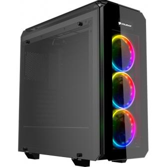 Gabinete Gamer Cougar Puritas RGB, Mid Tower, Com 3 Fans, Vidro Temperado, Black, S-Fonte